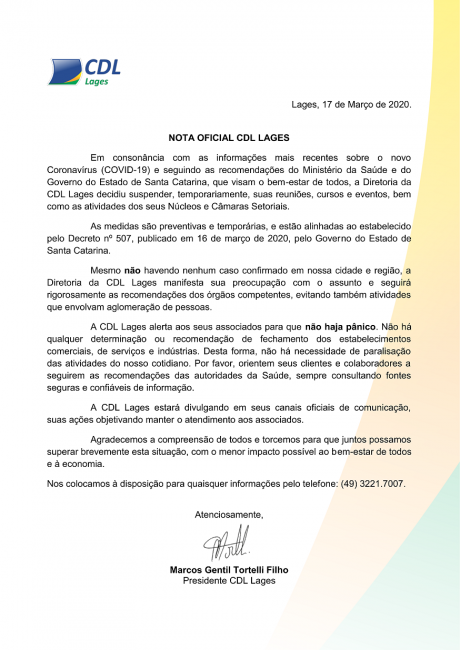 Nota Oficial CDL Lages